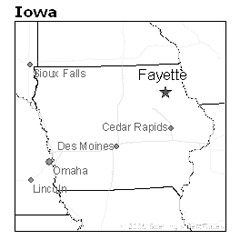location of Fayette, Iowa