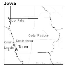 location of Tabor, Iowa