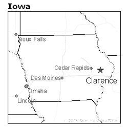 Clarence, Iowa map   Iowa Unsolved Murders: Historic Cases